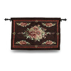 Zeckos - Brown Floral Josephine Tapestry Wall Hanging with Rod 36 x 26 In. - This brown woven tapestry wall hanging designed by artist April Cornell titled 'Josephine' adds a lovely accent to your home perfect for Fall. Measuring 36 inches long and 26 inches high (91 X 66 cm), it's great for a wall in the dining room, living room or in the entryway featuring dark reds, greens and browns in a floral pattern. It includes the mounting hardware, a sewn-in bottom rod for weight to keep it looking nice on the  wall, and a black top hanging rod with decorative finials. The front is made of a rayon/cotton/polyester blend with a 100% cotton backing, and is recommended to dry clean or spot clean only. This piece is a pretty accent for your home that's a wonderful gift for both friends and family, and is proudly made in the U.S.A.