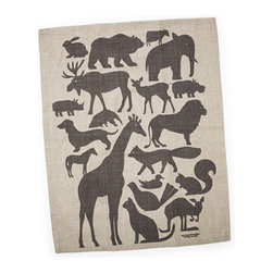 Animal Silhouette Dish Towel - Break the mold — hanging this animal-silhouette-adorned dish towel on the wall would be a fun learning tool.