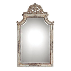 Uttermost - Portici Antique Ivory Mirror - Frame Features A Heavily Antiqued Ivory Finish With Distressing And A Rotten-stone Glaze. The Shaped Mirror Features A Generous 1 1/4 in.  Bevel.