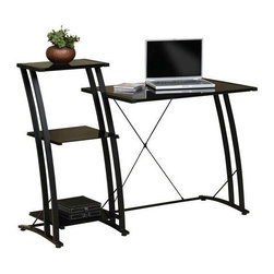 Sauder - Deco Tiered Computer Desk in Black Finish - Safety-tempered glass work surface and shelves. Rear crossbars added for rigidity. Floor levelers adjust to uneven surfaces. Made of glass and steel frame for durability. Assembly required. 48 in. W x 20 in. D x 36 in. H