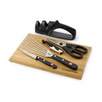"""Wusthof - Wusthof Gourmet Six Piece Kitchen Essentials Set - Wusthof's Gourmet knives are precisely cut with the latest state of the art laser technology. A wide assortment offers you knives for all purposes. Manufactured from one piece of steel and feature synthetic handles with a full tang handle for all blades longer than 4.72"""". Made in Germany.  Set includes a 4 utility knife, 7 slotted spatula, kitchen shears, a 2-stage sharpener, a waiters corkscrew, and an 8x12 bamboo cutting board.Made in Germany."""