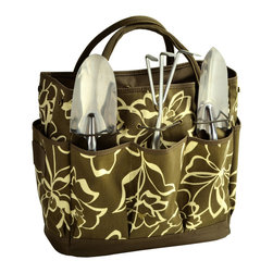 Picnic at Ascot - Gardening Tote with Tools, Promenade Olive - Casual Style defines this durable multi-pocket gardening tote. Set includes three top quality, heavy gauge stainless tools with comfort grip handles.  Roomy interior is great for transporting supplies & side pockets have room for a beverage and snack. Designed and Assembled in the USA. Lifetime Warranty.