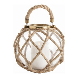 """Arteriors - Cormac Lantern, Small - This clear glass sphere has been hand wrapped with a natural jute rope that has then been used to create a handle.  The metal accents are finished in antique brass.  Available in  2 sizes.  Large lantern: 13"""" w x 13"""" d x 14 1/2"""" h  Small lantern: 11"""" w x 11"""" d x 10"""" h  This candle lantern is very nautical and natural."""