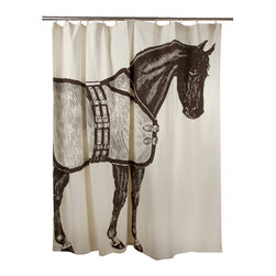 Thomas Paul - Thoroughbred Shower Curtain - Bold and graphic; these are words often used to describe crazy uncles and women's fashion, but they are also the perfect words to describe the textile collection of design industry darling Thomas Paul. His prints are the perfect addition to any space needing a splash of character.