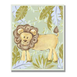 Stupell Industries - Lion in Jungle Rectangle Wall Plaque - Made in USA. MDF Fiberboard. Hand finished and packed. Approx. 15 in. W x 11 in. L. 0.5 in. ThickThe Kids Room by Stupell features exceptional handcrafted wall decor for children of all ages.  Using original art designed by in-house artists, all pieces feature hand painted and grooved borders as well as colorful grosgrain ribbon for hanging.  Made in the USA, everything found in The Kids Room by Stupell exudes extraordinary detail with crisp vibrant color. Whether you are looking for one piece to match an existing room's theme, or looking for a series to bring the kid's room to life, you will most definitely find what you are looking for in The Kids Room by Stupell.