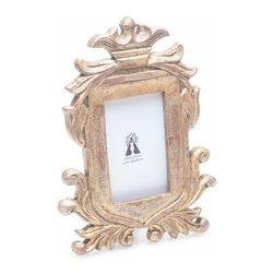 Abigails - Provence Antiqued Gold Finish Frame - Elaborately carved wooden frame with an antiqued gold finish. This frame is ideal for a special presentation with its crown top.