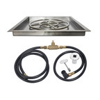 """American Fireglass - Square Drop-In Fire Pit Kit w/ Spark Ignition, 18"""" X 18"""", Natural Gas - These Gas Fire Pit Kits from American Fireglass are quickly and easily installed, and all the plumbing is hidden underneath the tray for a really professional look."""