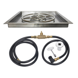"American Fireglass - Square Drop-In Fire Pit Kit w/ Spark Ignition, 18"" X 18"", Natural Gas - These Gas Fire Pit Kits from American Fireglass are quickly and easily installed, and all the plumbing is hidden underneath the tray for a really professional look."