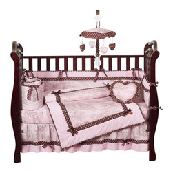 Sweet Jojo Designs - Pink Brown Toile 9 Piece Crib Bedding Set - The Pink Brown Toile 9 Piece Crib Bedding Set is just one of the crib bedding sets we offer from Sweet Jojo Designs. The 9-Piece baby bedding set includes a crib blanket, fitted crib sheet, crib bumper pads, crib skirt (dust ruffle), diaper stacker, toy bag, decorative pillow, and two window valances. This toile bedding set will make any girl's room feel special!