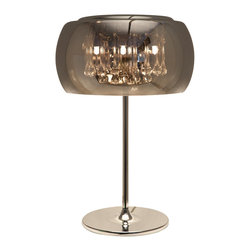 Nuevo Living - Alain Table Lamp - If you equate crystals with something grandma would have in her parlor, it's time to see them in a new light. This table lamp fits clear teardrops in a sleek chromed glass shade to illuminate your favorite modern setting.