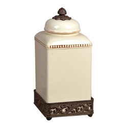 GG Collection - The GG Collection Cream Acanthus Leaf Canister Large - The GG Collection is best known for elegant wrought iron home