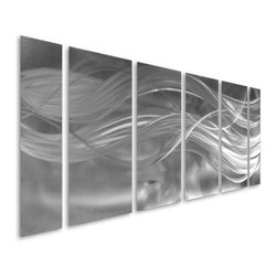 Pure Art - Bands of Brilliance Hand Painted Metal Wall Art Panel Set of 6 - Simplistic artwork is sometimes the most eye-catching! Such is the case with the Bands of Brilliance Hand Painted Metal Wall Art Panel Set of 6.  This fun metal wall hanging features swirling flowing bands and fibers of silver upon a field of swirling silver and charcoal.  This large set is nothing short of phenomenal and is handcrafted and hand painted for a lush and lavish look that oozes an affluent and refined feel.  Add this sophisticated group of metal wall hangings to the walls of your home or office for a head-turning accent that you will cherish for years to comeMade with top grade aluminum material and handcrafted with the use of special colors, it is a very appealing piece that sticks out with its genuine glow. Easy to hang and clean.