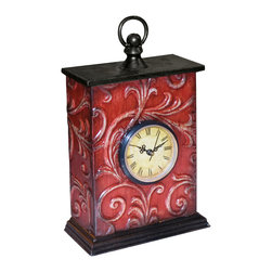 Red Embossed Vine Clock (1  Aa Battery Not Included) - *Dimensions: 3L x 7W x 11.25H