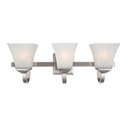 DHI-Corp - Torino 3-Light Vanity Light, Satin Nickel - The Design House 514760 Torino 3-Light Vanity Light is made of formed steel, snow glass and finished in satin nickel. This 3-light wall mount is rated for 120-volts and uses (3) 60-watt medium base incandescent bulbs. This wall mount's petite design mounts seamlessly to the wall without a chain or visible wires. Measuring 8-inches (H) by 22.5-inches (W), this 5-pound fixture can be mounted facing up or down depending on location and preference. Squared details accentuate the snow glass to create a sleek centerpiece in a bathroom. This product is UL and CUL listed and approved for damp areas. The Torino collection features a beautiful matching wall sconce, chandelier and mini pendant. The Design House 514760 Torino 3-Light Vanity Light comes with a 10-year limited warranty that protects against defects in materials and workmanship. Design House offers products in multiple home decor categories including lighting, ceiling fans, hardware and plumbing products. With years of hands-on experience, Design House understands every aspect of the home decor industry, and devotes itself to providing quality products across the home decor spectrum. Providing value to their customers, Design House uses industry leading merchandising solutions and innovative programs. Design House is committed to providing high quality products for your home improvement projects.