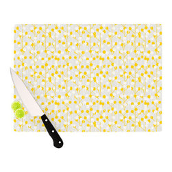 """Kess InHouse - Julie Hamilton """"Lemon Drop"""" Yellow Gray Cutting Board (11"""" x 7.5"""") - These sturdy tempered glass cutting boards will make everything you chop look like a Dutch painting. Perfect the art of cooking with your KESS InHouse unique art cutting board. Go for patterns or painted, either way this non-skid, dishwasher safe cutting board is perfect for preparing any artistic dinner or serving. Cut, chop, serve or frame, all of these unique cutting boards are gorgeous."""