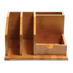 """Baumgartens - Baumgartens Bamboo Desk Organizer - 4.1""""H x 6.1""""W x 8.5""""D - Bamboo desk organizer helps you create order out of chaos and tidy up your office in a flash. Compact design features a pencil holder, thumb-notched memo holder for easy access and two vertical slots for letters so it's perfect for any desk. Qi Bamboo Organizer is made of earth-friendly bamboo, a sustainable and renewable material."""
