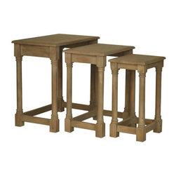 Windsor 3 Driftwood Nested Tables - Windsor 3 Driftwood Nested Tables L:21.75 x 13.75 x 22.5 M:17 x 11.75 x 21 S:12.25 x 10 x 19.5