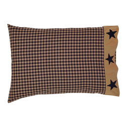 "VHC Brands - Teton Star Navy and Khaki Appliqued Pillowcases from VHC Brands - The Teton Star Collection features a great navy and khaki color scheme. These pillowcases are sold as a set of 2 and measure 21"" x 30"" each. They will fit a ""standard"" size pillow.  Each case features a navy and khaki check print with 3 solid navy appliqued stars. 100% cotton."