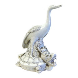 Golden Lotus - Chinese Off White Porcelain Crane on Dragon Turtle Figure - This is a decorative piece in off white porcelain color. The theme is a crane riding on a dragon turtle.