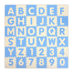 Alessco - Baby Blue A-Z & 0-9 Interlocking Floor Mat - 6.5 x 6.5 - Baby Blue A-Z & 0-9 Interlocking Floor Mat - 6.5 x 6.5