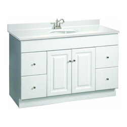 DHI-Corp - Wyndham White Semi-Gloss Vanity Cabinet with 2-Doors and 4-Drawers - The Design House 531145 Wyndham White Semi-Gloss Vanity Cabinet features a durable white semi-gloss finish and satin nickel finished hardware. Perfect for an elegant country style home, this vanity has clean lines and concealed hinges. The 2-door, 4-drawer construction gives you plenty of storage for toiletries to keep your countertop free of clutter. The doors open with a fluid motion, do not whine or creak and can endure moderate stress. Measuring 48-inches by 21-inches by 31.5-inches, this vanity can fit into a medium to larger sized bathroom. The frameless design provides ample storage and accessibility to store toiletries for the entire family. Traditional construction meshes with subtle modern details to quickly brighten up your bathroom. This product is perfect for remodeling your bathroom and matches granite countertops and colored walls. Vanity top is not included with this product. The Design House 531145 Wyndham White Semi-Gloss Vanity Cabinet has a 1-year limited warranty that protects against defects in materials and workmanship. Design House offers products in multiple home decor categories including lighting, ceiling fans, hardware and plumbing products. With years of hands-on experience, Design House understands every aspect of the home decor industry, and devotes itself to providing quality products across the home decor spectrum. Providing value to their customers, Design House uses industry leading merchandising solutions and innovative programs. Design House is committed to providing high quality products for your home improvement projects.