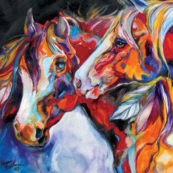 WL - Two Spirits Theme Wall Art Painting with Colorful Horse Couple Design - This gorgeous Two Spirits Theme Wall Art Painting with Colorful Horse Couple Design has the finest details and highest quality you will find anywhere! Two Spirits Theme Wall Art Painting with Colorful Horse Couple Design is truly remarkable.