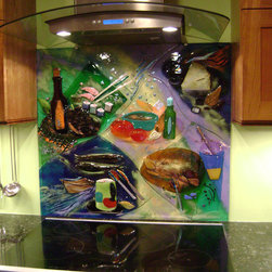 Colorful Abstract Kitchen Backsplash - We created this colorful kitchen backsplash art piece in fused glass.