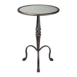 Uttermost - Anais Mirrored Accent Table - A three-legged table always wins the race! Give this one a rest next to your favorite chair so everyone can enjoy the stunning coffee bronze finish and elegant scrolled feet. The antiqued mirror inset top is the ultimate reflection of your great taste.
