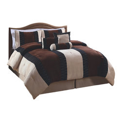 Pem America - Nakita Brown King Comforter Set - Nakita Brown features contrasting browns and creams in a solid horizontal pattern creating a simple and luxurious look for any bedroom decor. King comforter, 2 shams, bed skirt and 3 decorative pillows. 100% microfiber polyester face.  Fill is 95% cotton / 5% other fibers. Machine washable.