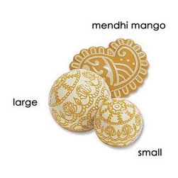 Mendhi Squeak Toys By Bodhi - Bodhi designers have based their entire series on Indian themes. These squeaky toys are based on mendhi henna tattoos with lotus leaves and mango motifs. These toys look like they're meant to accessorize a bowl on a side table rather than your dog's mouth.