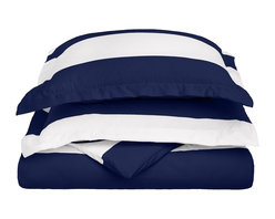 """600 Thread Count Full/Queen Duvet Set Cotton Rich Cabana Stripe - Navy Blue - Send yourself on a tropical vacation every night with this Cabana Inspired duvet cover set from Impressions. This design features stripes of white and the sets specified color and is made with a superior blend of materials that makes these duvets soft, easy to care for and wrinkle resistant. Set includes one duvet cover 90""""x92"""" and two pillow-shams 20""""x26"""" each."""
