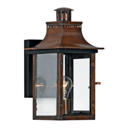 Quoizel Lighting - Quoizel CM8408AC Chalmers 1 Light Outdoor Wall Light, Aged Copper - Long Description: From the Charleston Copper Lantern Collection, this piece gives you the historic look of gas lighting, but without the hassle of a propane feed. It is all electric, solid copper and hand riveted, giving your home the romantic, reproduction style of antique gas lights still popular today on many of the charming homes in New Orleans and Charleston.