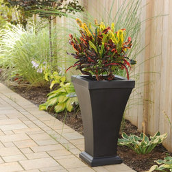 Mayne - Mayne Bordeaux Tall Patio Planter - 5864-B - Shop for Planters and Pottery from Hayneedle.com! Plants and flowers add a distinct touch to any outdoor space and the Mayne Bordeaux Tall Patio Planter offers a perfect way to display them. Made of high-grade polyethylene to resist the elements this clean-lined compact planter makes a charming accent for patios and terraces or even for flanking entrances and garage doors. Plus it's available in your choice of color to best accentuate your outdoor living area. To ensure your plants are as eye-pleasing as could be this planter includes a self-watering tray insert which creates a sub-irrigation water system and promotes root growth for ultimate plant health. If you use your planter for real plants you can pre-drill drainage holes to prevent water from over-saturating the soil which eliminates the air pockets that plant roots need. However you choose to use it this planter fills a tall order for function and simple style. About MayneSince its conception in 2005 Mayne Mail Posts has grown and expanded its line of distinct outdoor products. Based in London Ontario Mayne takes great pride in creating and designing high-quality products for your home including mail box posts planters address signs and lamp posts. Mayne's dedicated team continues to set high standards in order to provide you with service and quality worthy of remembering.