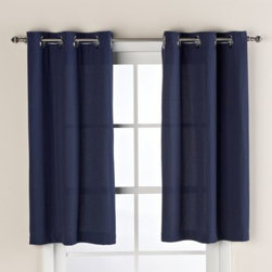 "Hookless - Hookless Waffle 38-Inch x 45-Inch Window Curtain in Navy Blue - This innovative window curtain offers no hassles thanks to its ""split ring"" hookless design, that lets you hang it in less than 10 seconds."