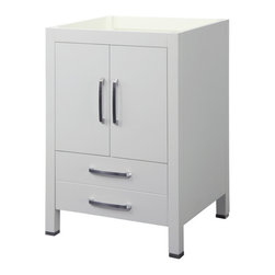 Decolav - Decolav 5221-WHT Cameron Collection Vanity - DECOLAV's Cameron Vanity has double front doors and a deep lower drawer. Soft closing door hinges and drawer slides allows for a smooth secure close.