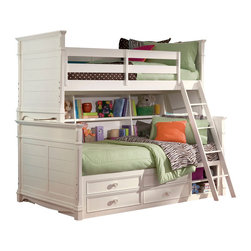 Lea Industries - Lea Hannah 3 Piece Bookcase Bunk Bed Kids' Bedroom Set in White - The Hannah Collection by Lea is sure to look great in any girl's room with its soft curves, shaped pilasters, finessed lines, scalloped details, and casual hardware. This collection is offered in a crisp White finish and is crafted from solid hardwoods and painted wood products. The Hannah Collection offers many different storage that are perfect for any size room. With the updated country classic styling of the Hannah Collection it is sure to be a great fit for your daughter's bedroom! With roots that stretch all the way back to 1869, Lea Industries has been adding its signature style and design to homes around the United States for more than a century. Children's furniture makes up the cornerstone of this topnotch manufacturer's lineup, and Lea has always managed to produce functional, modern - yet sophisticated - furniture for children. Furniture that bears the Lea name is always high quality, versatile and attractive.