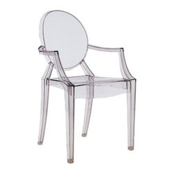 "Louis Ghost Armchair - The Louis Ghost Armchair from Kartell was designed by Philippe Starck. This modern armchair is manufactured in the Louis XV style. The Louis Ghost is stable and durable, shock and weather resistant. The armchair has a crystalline appearance, a great charm and brings a touch of elegance and irony to any style of home or public area. The Louis Ghost armchair may be personalized in four standard themes and is the first transparent armchair in the world made of plastic which is also available in a fire-resistant version and in four different themes. Kartell products ship within the U.S. and Canada only.      Product Details:  The Louis Ghost Armchair from Kartell was designed by Philippe Starck. This modern armchair is manufactured in the Louis XV style. The Louis Ghost is stable and durable, shock and weather resistant. The armchair has a crystalline appearance, a great charm and brings a touch of elegance and irony to any style of home or public area. The Louis Ghost armchair may be personalized in four standard themes and is the first transparent armchair in the world made of plastic which is also available in a fire-resistant version and in four different themes. Kartell products ship within the U.S. and Canada only.  Details:     Manufacturer: Kartell   Designer: Philippe Starck   Made in: Italy   Dimensions:  Width: 21.3"" (54 cm)  Height: 37"" (94 cm); seat: 18.5"" (47cm); arm: 26.4""(67 cm)  Depth: 21.7"" (55 cm)  Weight: 10.6 lbs (4.8 kg)     Material: Transparent or batch-dyed polycarbonate"