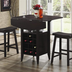 Coaster - 3-Pc Bar Table Set in Black Finish - Includes table and two stools. Contemporary style. Table top has a drop leaf. Open shelf. Wine rack for upto 12 bottles. Table: 36 in. L x 36 in. W x 36 in. H. Stool: 17.75 in. W x 14.5 in. D x 24 in. H. WarrantyEnjoy the relaxed environment created by this functional three-piece bar table set. The dark finish and two stools with scooped seat for comfort make this set a great choice for a kitchen or casual dining space. Add a bar unit or bar table to your gathering and entertainment room, and you will be the life of the party. Host gatherings of all sizes. Choose the right style and size to meet your needs and keep your guests happy.