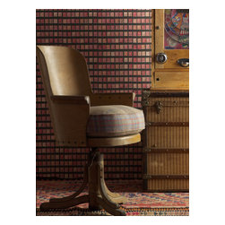 Kathy Kuo Home - Vintage British Penny Stamps Wallpaper - Red - A penny for your thoughts — and your walls. This coated paper, featuring a collection of vintage 1-cent stamps, lets you flaunt your fondness for philately while dressing your favorite eclectic setting in a pricelessly unique way.
