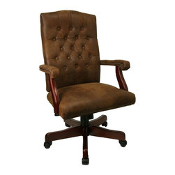 Flash Furniture - Bomber Brown Classic Executive Chair - High back office chair. Button tufted back. Hand applied brass nail accents on arms. Brown ultra-suede like leather soft upholstery. Pneumatic seat height adjustment. Nylon casters. Spring-tilt mechanism for tension adjustment. Warranty: 2 years limited. Dark mahogany finish. Assembly required. Back: 20.5 in. W x 25.5 in. H. Seat: 22 in. W x 19 in. D. Seat Height: 21 - 24.5 in.. Arm Height from Floor: 27.5 - 31 in.. Overall: 26 in. W x 21.25 in. D x 43.75 - 47.25 in. H (60 lbs.)
