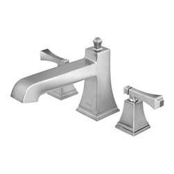 Pegasus - Exhibit Roman Tub Faucet - 65601-8004 - Manufacturer SKU: 65601-8004. Lever handles. 0.5 in. IPS inlets. 2 in. maximum deck thickness. Brushed nickel color. Spout height: 3.19 in.. Spout reach: 6.94 in.. Weight: 5.71 lbs.