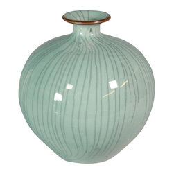 Belle & June - Crackle Celadon Pomegranate Vase with Brown Lip - In your spa bathroom this celadon vase will create an illusion of calm sanctuary. A beautiful standalone piece, its curved shape and quiet tranquility evoke an inner peace.