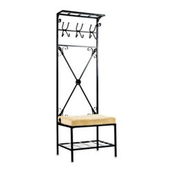 Southern Enterprises Inc. - Entryway Storage Rack with Bench - This piece adds an inviting touch to your entry hall, while offering plenty of space for umbrellas, coats and bags. Constructed of metal with a textured black finish.