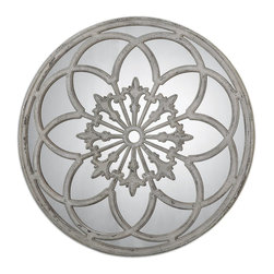 Uttermost - Uttermost 13868 Conselyea Round Mirror - Ornate, heavily distressed, aged ivory finish with rust bronze undertones.