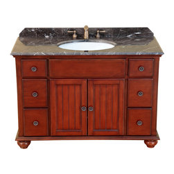 "Bosconi - 47"" Bosconi T-3745 Single Vanity - Classic Bosconi vanity is a great piece to maintain organization in any bathroom, while adding to its classical decor. One two-door large cabinet and six drawers, will provide ample storage space for any essentials without ever misplacing even the smallest items. Its solid frame would also assure years of quality service with its timeless design adorned with Antique Red finish, Antique Brass hardware, and a stunning Dark Emperador Marble with matching backsplash."