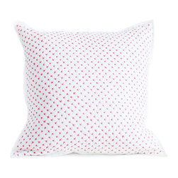 Auggie Home Collection - Cross Stitch Pillow Cover, Pink - Each of our decorative pillow covers coordinates with a matching quilt and mixes in with our bedding collections.