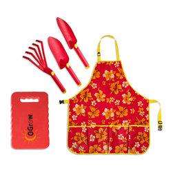oGrow - oGrow® Gardening Kit, 3 Piece Tool Set, Extra Wide Apron and Kneeling Pad, Rasbe - Gardening just got easier with the oGrow® Complete Gardening Kit that is practical and fashionable at the same time! Make gardening more comfortable using the right tools for every task. Kit includes: 3 Piece Tool Set, Extra Large Apron and Wide Kneeling Pad. The High Quality Apron will protect your clothing and keep your tools right where you need them with its four versatile pockets that are deep enough for most handheld gardening tools. Apron features an adjustable neck and waist. Extra Large to fit and protect better. The hand tools are extremely durable yet lightweight with easy grip handles designed for extended use. The tool set includes 1 big trowel, 1 transplanter, and 1 5 teeth cultivator. Comfort Kneeling Pad from EVA resists stone penetration and helps prevent sore knees. Extra Wide for added comfort. Tools and Kneeling Pad are Raspberry with matching Raspberry Floral designed Apron! Garden in style or give as a lovely gift.