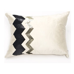 Ankasa - Deco Stripe Pillow - Features: -Deco collection. -Color: Ivory / Black / Gold. -2 Vertical stripes of enlarged sequin chevron.