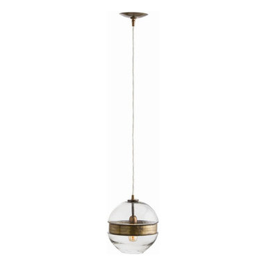 "Arteriors - Arteriors Home - Garrison Round Pendant - 44071 - Arteriors Home - Garrison Round Pendant - 44071 Features: Garrison Collection Round PendantMolded clear glass sphere pendant cinchedVintage brass belt Some Assembly Required. Dimensions: H 11.5""x 9.5"" Dia"