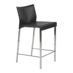 Eurø Style - Riley Black Leather Counter Stool (Set of Two) - This urban chic Riley Black Leather Counter Stool (Set of Two) features leather seats and backs. Complemented beautifully by chromed steel frames, these counter stools offer the ultimate in design and contemporary style to your room! This price is for 2 Chairs.